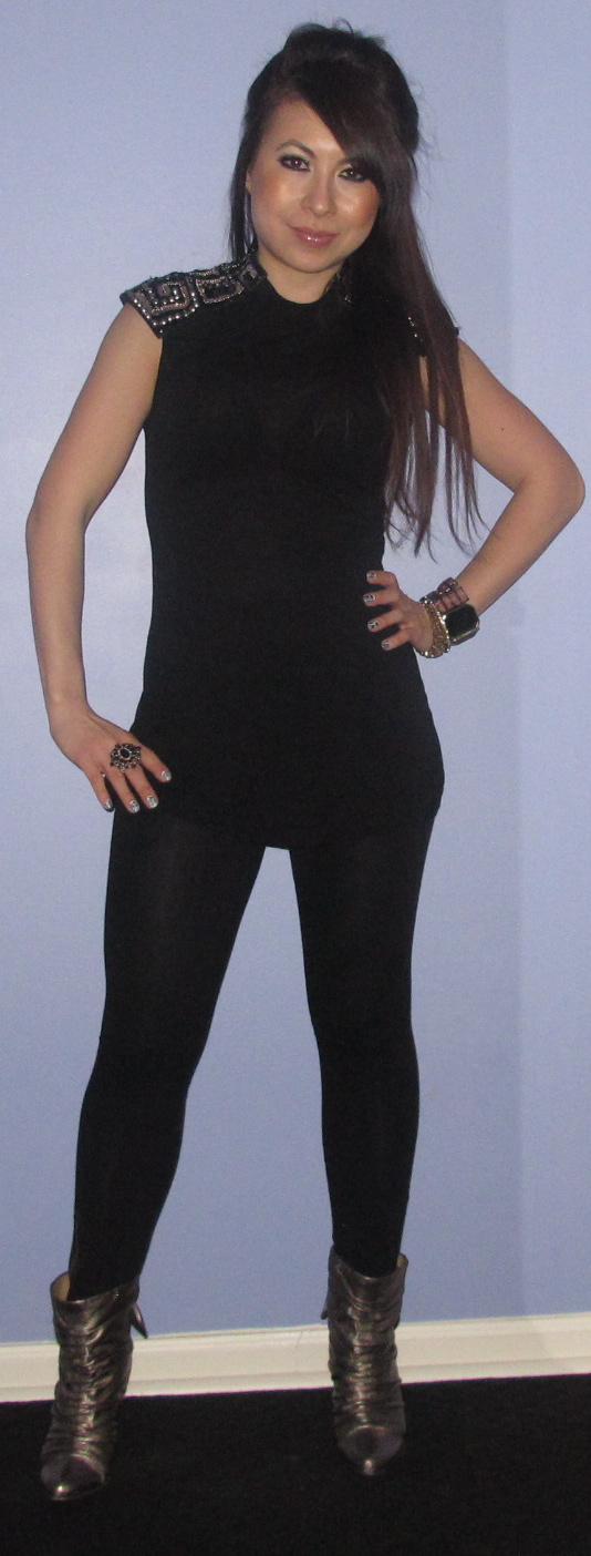 [Outfit Post] with Beaded Black Top Black Leggings and Gold Leather Bootiesu2026A Monochromatic ...